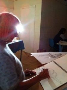Jane Waller drawing ballet dancer in Longwick