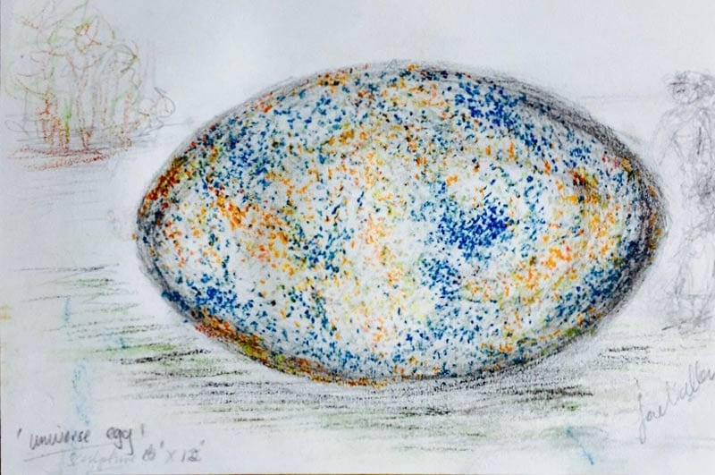 universe egg sculpture in colour