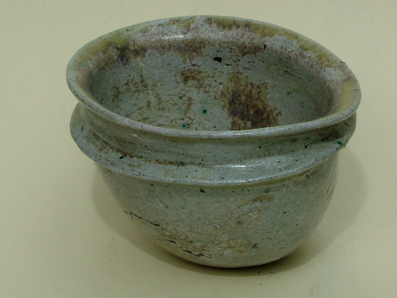 Blue Grey Carinated Raku Bowl