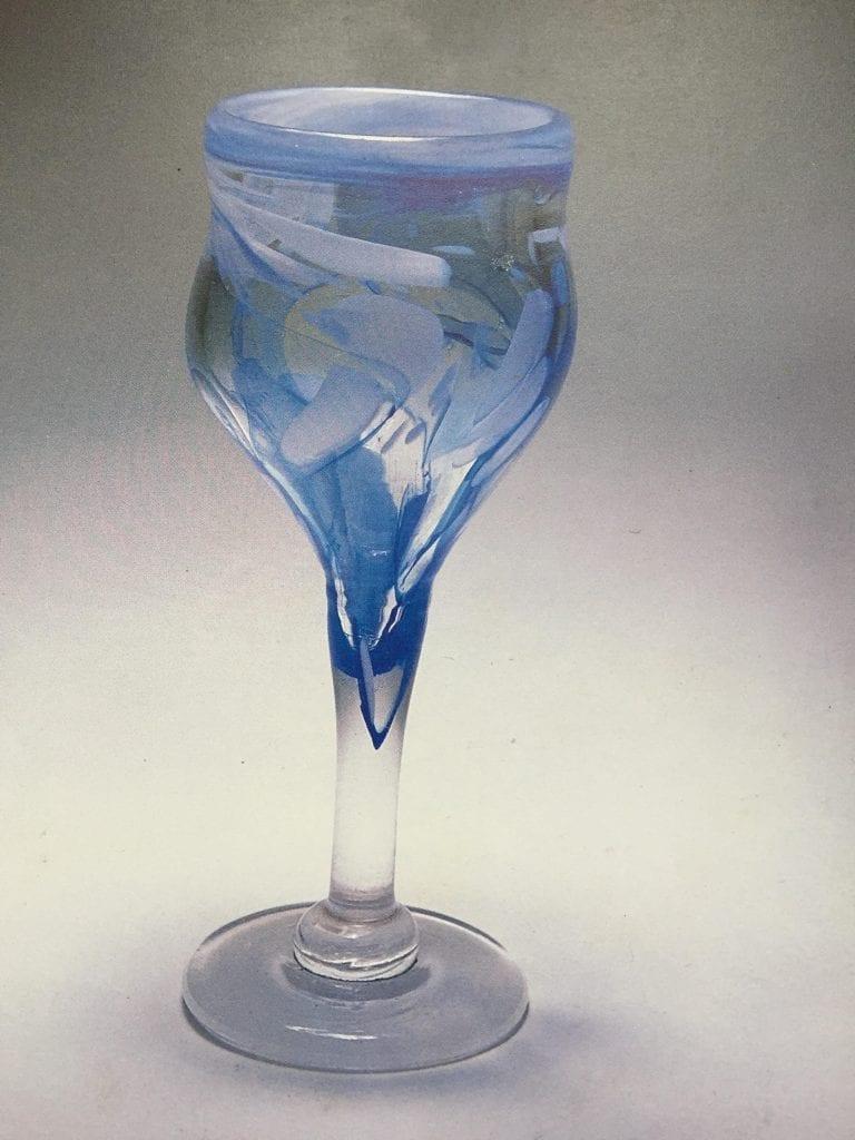 Blue Swirled Woblet shown in La Revue de la CéramIque et du Ver
