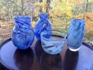 Four Mist-Blue Swirled Vases