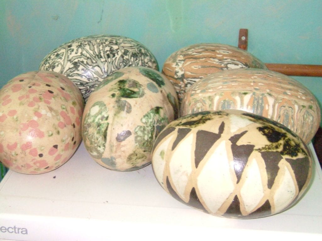 Half a dozen large ceramic eggs