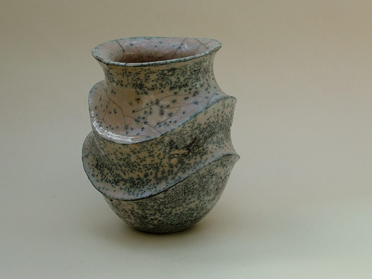 Pink Carinated Raku Vase