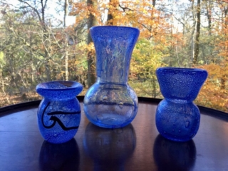 Small Persian Bubbley Vase and two larger Bubbley Vases