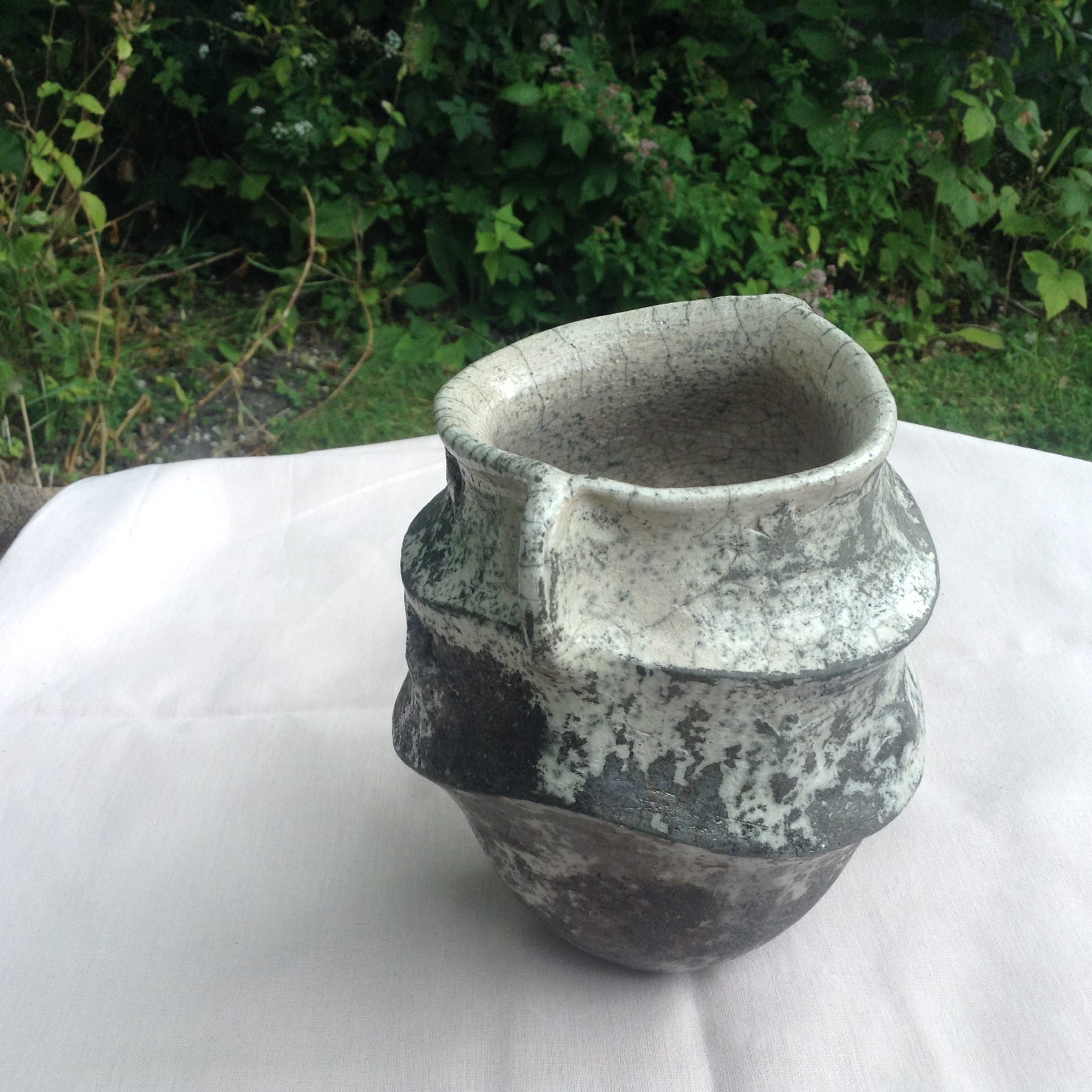 Speckled Grey Raku Vase