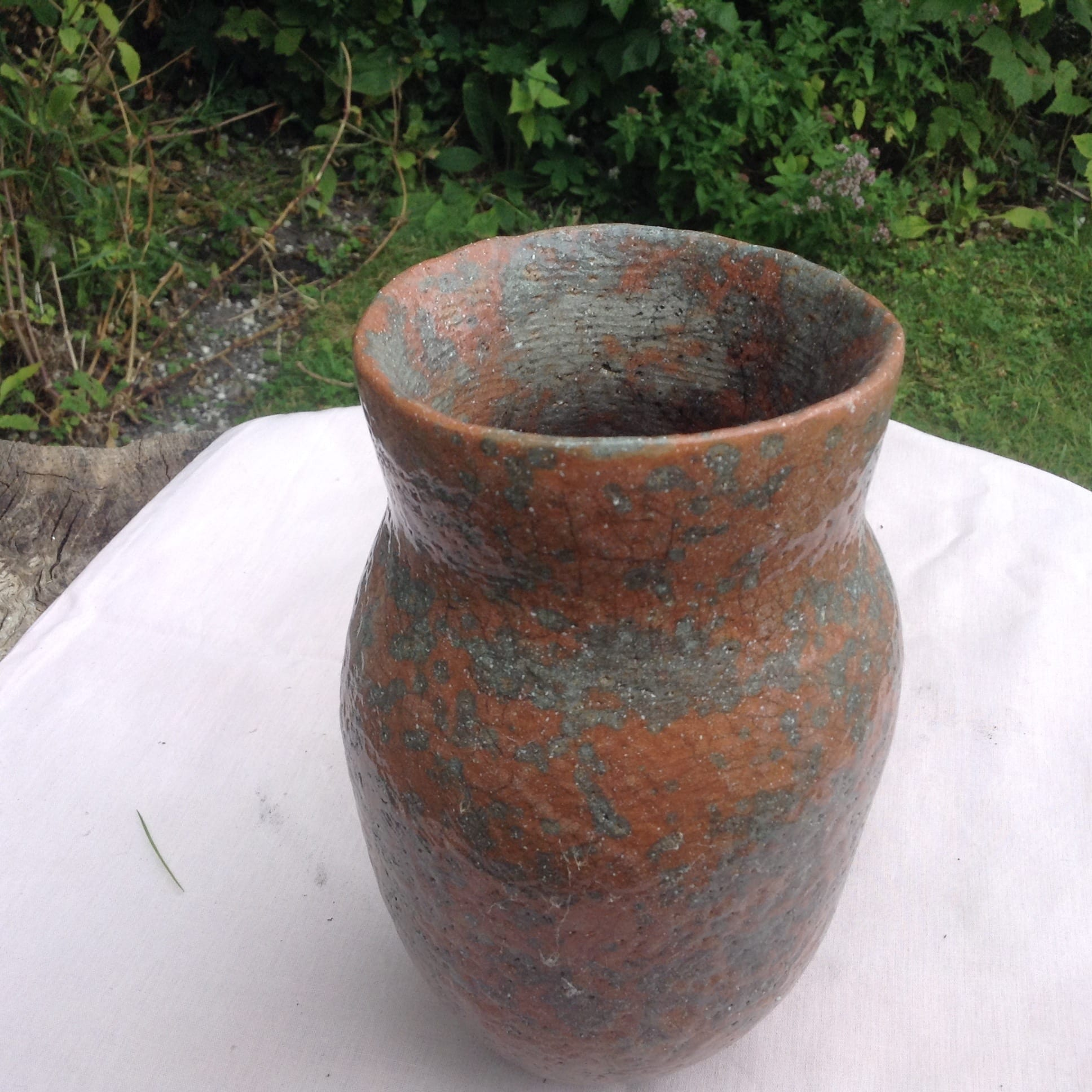 Tall Speckled Ginger Raku Vase.