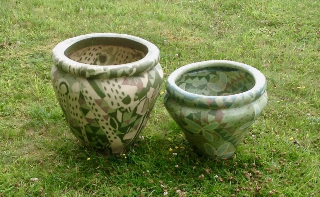 Two Large Vases (45cm & 35cm high)
