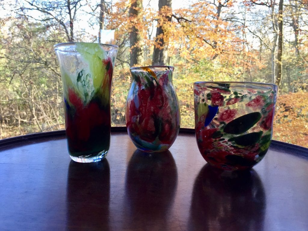 Three Blown Enamel Vases