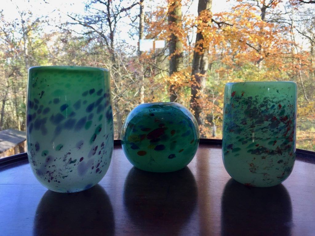 Three Green-Speckled Vases
