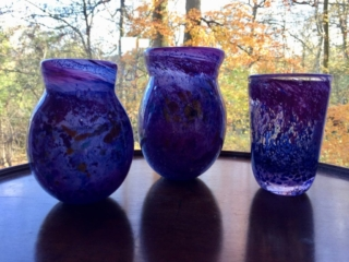 Three Mauvy-Cobalt Bubbled vases