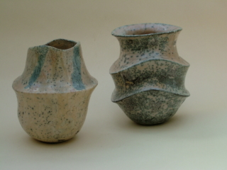 Two Carinated Raku Vases