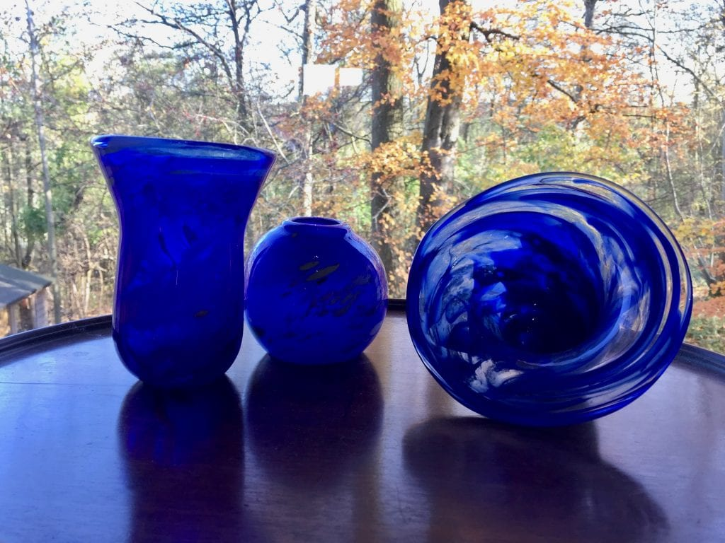 2 Cobalt Vases & Event Horizon Bowl