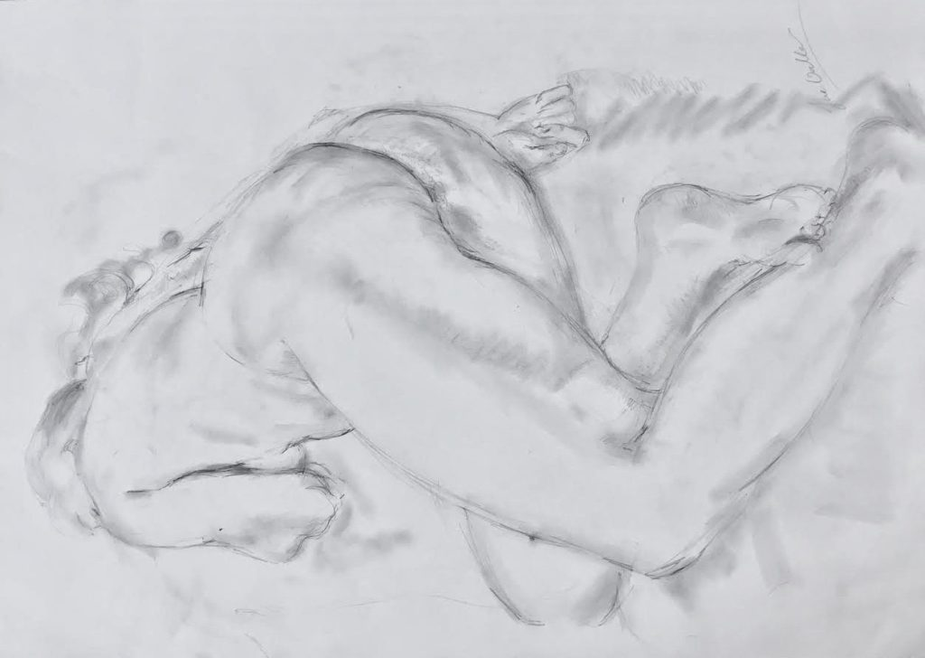 Detailed life-drawing in pencil